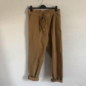 Topshop Camel Paperbag Waist Slouchy Pants